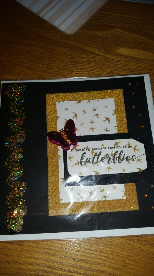 Butterfly card swap for month of June 2018 #gold #sparkly #saradaviessignaturecollection
